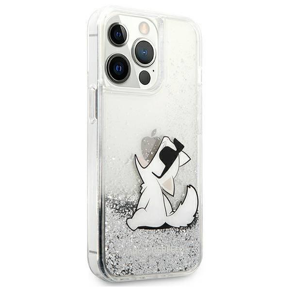"Karl Lagerfeld KLHCP13LGCFS iPhone 13 Pro / 13 6.1"" silver/silver hardcase Liquid Glitter Choupette Fun"