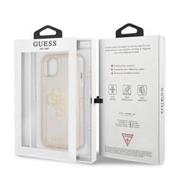 """Guess GUHCP13SPCUGL4GGO iPhone 13 mini 5,4"""" Gold/Gold Hartschalengehäuse Glitter 4G Big Logo"""