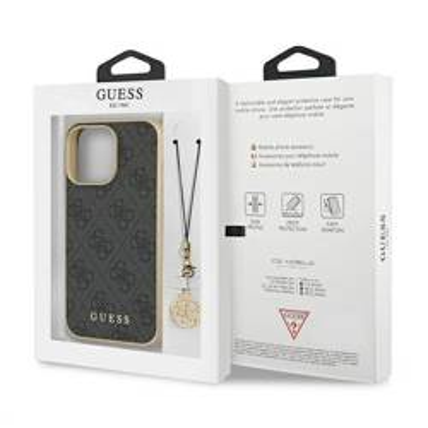 "Guess GUHCP13XGF4GGR iPhone 13 Pro Max 6,7"" grau/grau HartschalenHülle 4G Charms Kollektion"