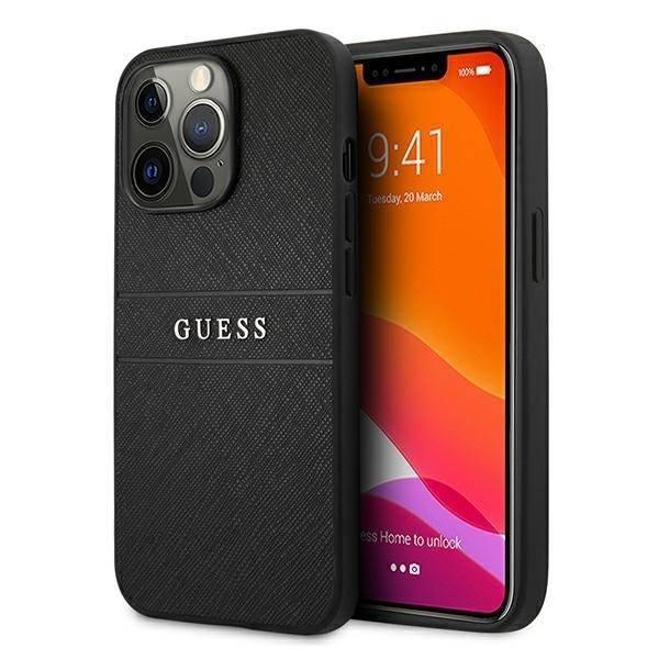 Guess GUHCP13XPSASBBK iPhone 13 Pro Max schwarz/schwarz Saffiano Strap