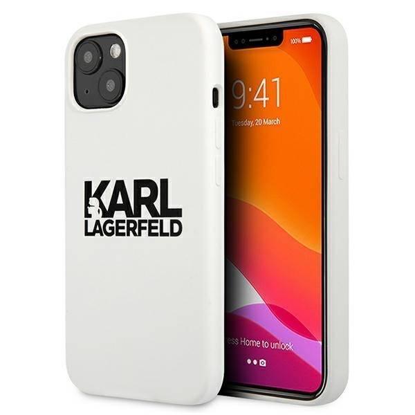 "Karl Lagerfeld KLHCP13SSLKLWH iPhone 13 mini 5,4"" Silikon Stack Logo weiß/weiß"