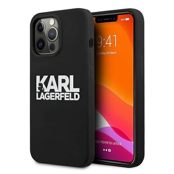 "Karl Lagerfeld KLHCP13XSLKLRBK iPhone 13 Pro Max 6,7"" Silikon Stack Logo schwarz/schwarz"