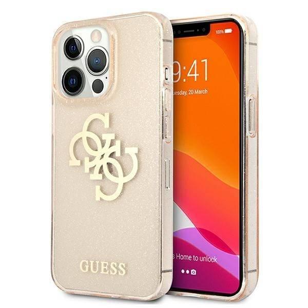 Etui GUESS Apple iPhone 13 Pro Glitter 4G Big Logo Złoty Hardcase