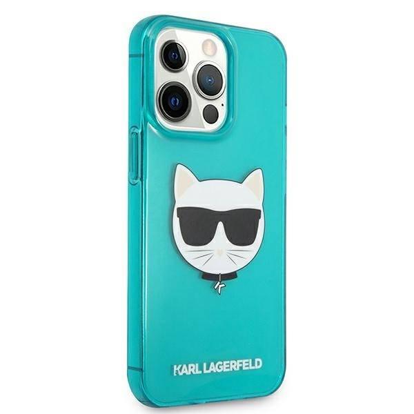 Etui KARL LAGERFELD Apple iPhone 13 Pro Max Glitter Choupette Fluo Niebieski Hardcase