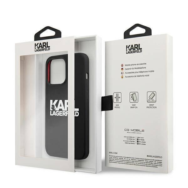 Etui KARL LAGERFELD Apple iPhone 13 Pro Max Silicone Stack Logo Czarny Case