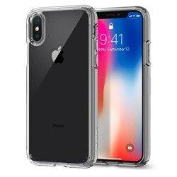 Etui SPIGEN Ultra Hybrid  Apple iPhone X Xs Clear + Szkło SPIGEN Full Cover Case