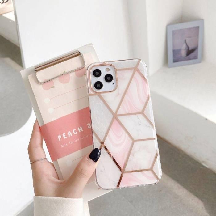 "Etui TECH-PROTECT Marble ""2"" iPhone 12 12 Pro Pink Różowe Case"