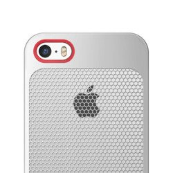 Etui iPhone 5 5S SE SEVENMILLI Real Metal Mesh HEX Silver / RED