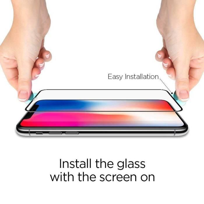 SZKŁO Hartowane SPIGEN iPhone 11 Pro Max XS MAX GLAS.tR HD FC Full Glue