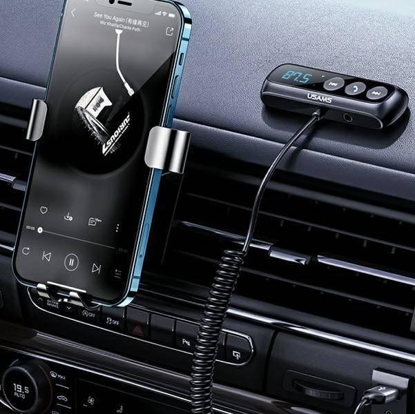 USAMS Adapter audio Bluetooth 5.0 zestaw głośnomówiący + transmiter FM czarny/black SJ503JSQ01 (US-SJ503)